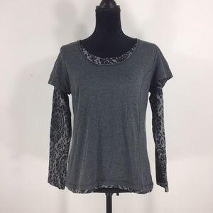 Women's Black and Gray DANSKIN Long Sleeve Top